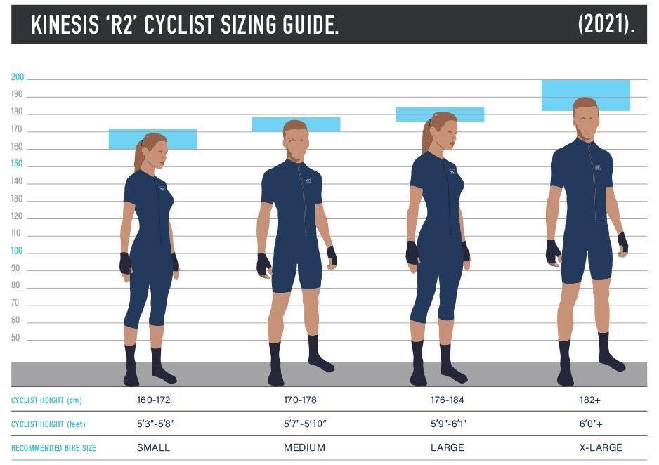 Kinesis R2 Cyclist Sizing Guide