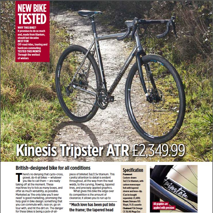 Kinesis Tripster ATR frame Cycling Active Magazine review